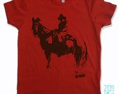KIDS COWBOY Tee Shirt - American Apparel Sizes 2 4 6 8 10 (8 Color Options) - FREE Shipping