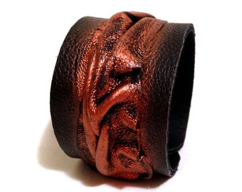 Leather bracelet Women cuff Leather jewelry Wristband Casual Elegance collection.