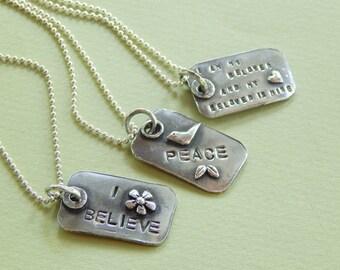 Hebrew/English Silver Dogtag Necklace