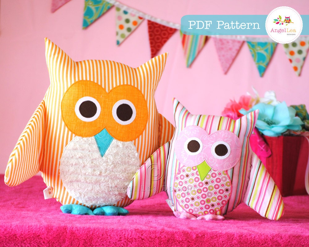 Owl Pillow Pattern Owl Pattern Pdf Sewing Pattern For Owl Soft Toy Cushion