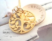 Personalized Hand Stamped Jewelry - Personalized Necklace - Brag About It - 14K Gold Filled - Family Tree (Locket Style)