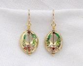 Gold Cloisonne Earrings...