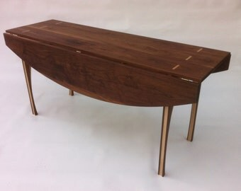 """Drop Leaf Hall Console Game Table - Solid Walnut - 66""""x45"""" - Contemporary Modern Lines"""
