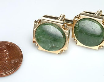 1950's Gold Tone CUFFLINKS Cuff links set with IRISH Marble:  Deco style design - Swivel Bar finding
