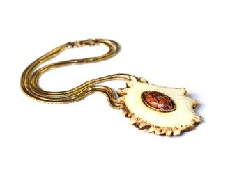 Antler & Opal Necklace, 1940s Unique Cantera Opal and Deer Antler Necklace, Vintage Western Folk Art Necklace, Forstner Gold Filled Chain
