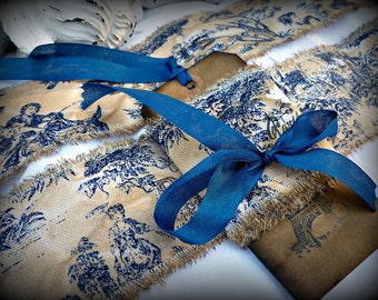 Slightly Distressed Toile French Ribbon with French Stamping