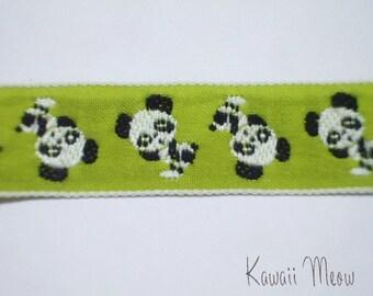 SALE Cute Japanese Woven Trims - Panda Green - 1 M
