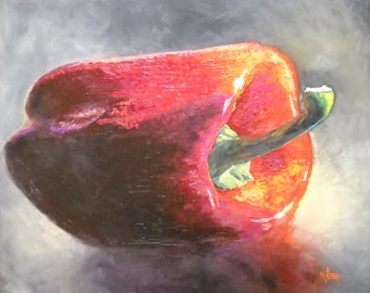 """Kitchen Art, Red Pepper Still Life, Palette Knife Painting, """"Big Red"""" by Carol Schiff, 20x24"""" Oil"""