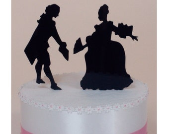 Wedding Cake Topper Victorian Silhouette Couple, Lasered ACRYLIC
