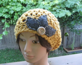 Gold Crocheted Slouch Hat 11/14