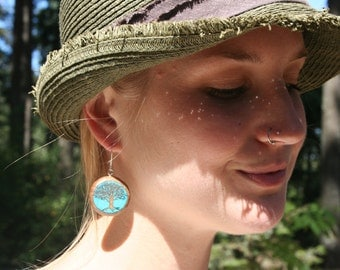 Wood Earrings- Tree of Life with inlay Turquoise- In Oregon Myrtle Wood (MOD 10)
