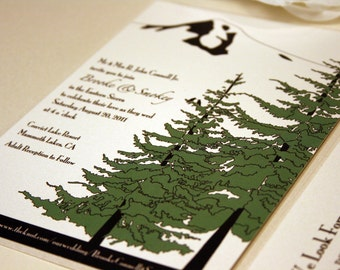 Trees and Mountain Wedding Invitation, Pocketfold Mt Hood Oregon Douglas Fir Trees, Two Crow Birds, Green, Black, Outdoor, Rustic and Modern