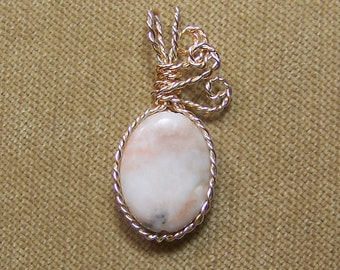 Natural Red Line MARBLE Gold and Sterling Silver Plate Wire Wrap Necklace PendantSALE