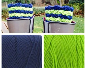 Seattle Seahawks Sounders inspired  boot cuffs football soccer crochet custom team