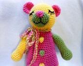 Crochet Teddy Bear Handmade in Three Colors, Stuffed Animal, Tricolor, Stuffed Bear