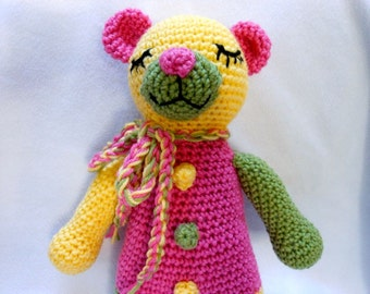 Crochet Teddy Bear Handmade in Three Colors, Stuffed Animal, Tricolor, Stuffed Bear, Plushie, Colorful