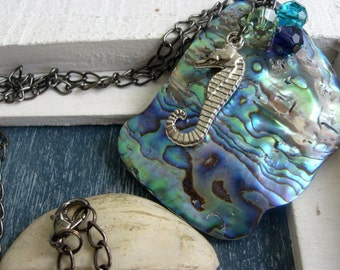 Large Premium Paua Shell New Zealand Abalone Pendant Necklace with Seahorse Charm and Swarovski Crystals on Gunmetal Chain blue green purple