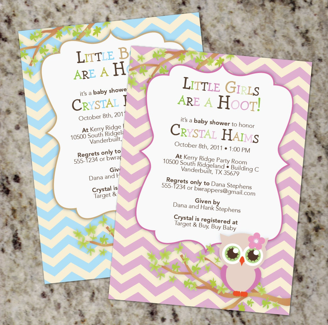 cute owl themed baby shower invitations with chevron boy or