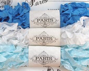 Seam Binding Ribbon, Shabby Crinkled Ribbon, Blue, White, Rayon Ribbon, French Vintage,Scrapbooking, Sewing, Doll Making, Cote d'Azur