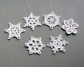 6 Crochet Snowflake Ornaments -- Small Snowflake Assortment ST1, in White
