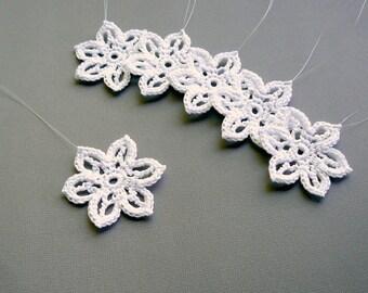 Christmas Decor -- 6 Small Crochet Snowflakes -- Snowflake B47, in White