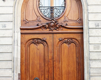 "Paris Photography, ""Brown Door"" On the streets of St Germain, French Art Prints, Urban"