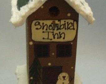Miniature Winter Bird House Inn on Post