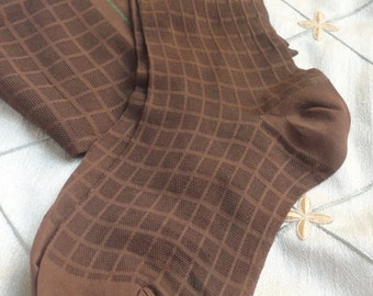 60s Nylon Stockings //  Vintage 1966 Brown Checked Nylon Stockings Garter Stockings Patterned Stockings