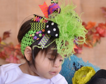 Halloween Black Orange Purple Pink and Green Chevron Polkadot Over The Top Funky Bow with Ostrich Puff on headband