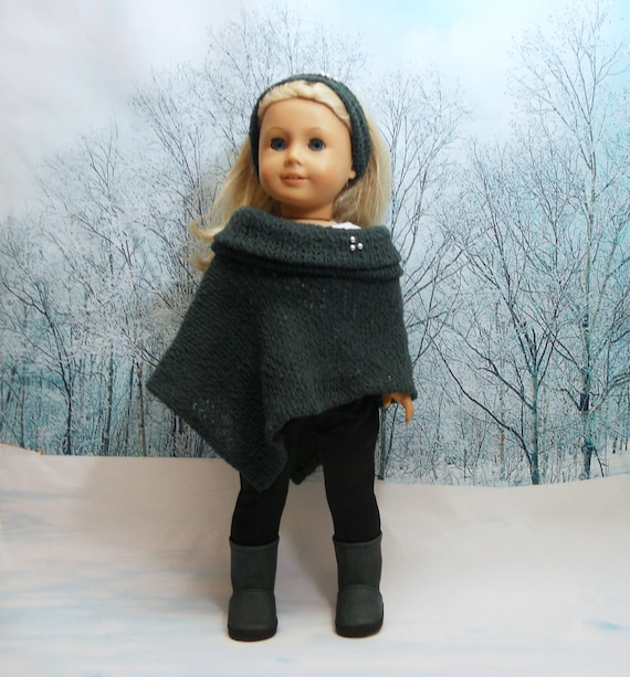 Items similar to American Girl Doll Clothes 5 pc set: Hunter green Poncho, Bl...