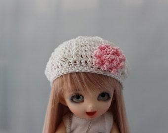 White Crochet Hat for Pukifee BJD, Lati Yellow or Monster Dolls Beret