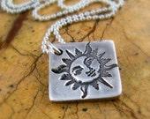 Silver Sun Necklace Southwestern Silver Sun Necklace PMC Fine Silver Handstamped Artisan Pendant
