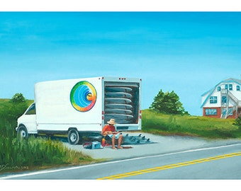 5x7 Greeting Card by Daina Scarola, Item #GC5X7-26 (surf art, Happy Dude, Lawrencetown, surf rentals)