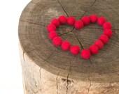 Felted Wool Balls, Felt Beads, RED Needle Felting DIY Craft Crafting Woodland fire berry love heart Blood