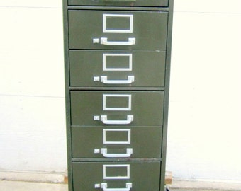 Industrial Metal Lateral File Cabinet with 10 Drawers Vintage Storage Cabinet File
