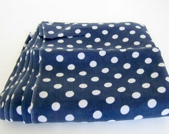 Vintage Fabric Polka Dot Peter Pan Cotton Navy Blue and White over 4 1/2 Yards Sheer
