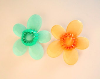 Vintage Flower Pin Brooch Pair Turquoise Green and Coral 1960s Flower Power