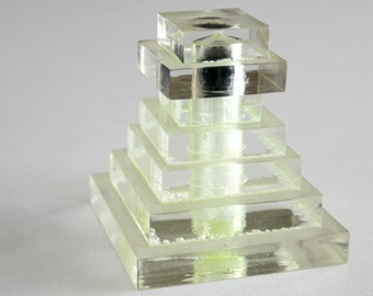 Art Deco Lucite Perfume Bottle Glass Dauber Vintage 1950s Pyramid Tower