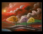 art original abstract lollipop tree painting cloud stars red landscape Large painting 18 x 24