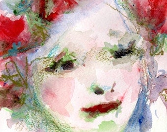 "Female Portrait, Original Watercolor and Oil Crayon ""I Love the Flower Girl"" 12 x 9"