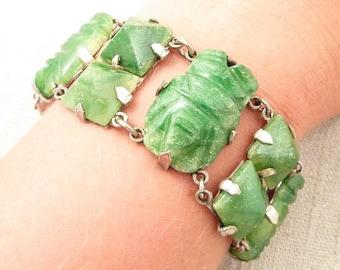 1920's Antique Carved Mexican Jade Sterling Link Bracelet