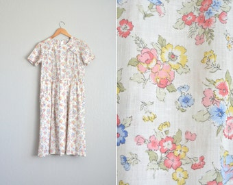 vintage handmade white FLORAL short sleeve SPRING DAY dress. size m.