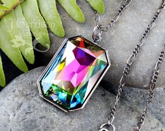 Dark Rainbow Necklace - color changing Swarovski crystal stone, gunmetal black chain - pink, green, blue, yellow, purple - free shipping USA
