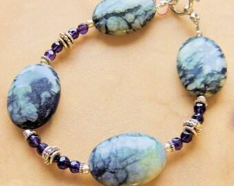 Jasper Bracelet, Amethyst Jewelry, Handcrafted Jewelry, Chunky Bracelet, Purple and Sage, Gemstone Jewelry, Statement Bracelet
