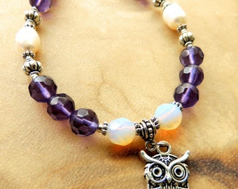 Owl Totem Bracelet, Amethyst and Opalescent Crystal with Freshwater Pearl Bracelet. Native Inspired Charm Bracelet, Handcrafted Jewelry