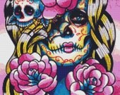 Modern cross stitch kit by Carissa Rose 'Wash Away' Day of the Dead Sugar Skull CrossStitch