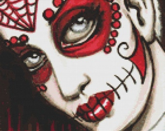 Modern Day Of The Dead - Lesbo -  Cross Stitch Kit By Shayne of the Dead - Sugar Skull