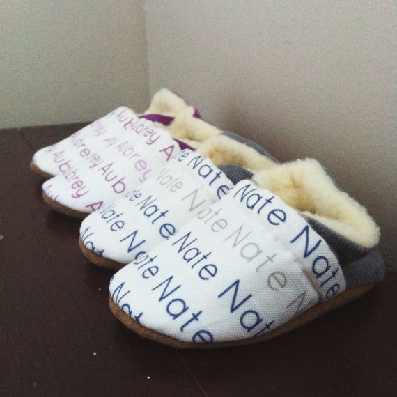 Custom Name Baby Shoes - Simple - 0-6 months, 6-12 months and 12-18 months