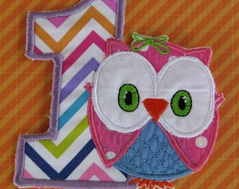 Applique number one with owl new style