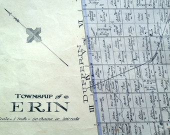 1906 Rare Large Antique Map of Erin Township, Wellington County, Ontario